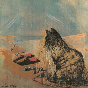 Sergio Vacchi, Capriccio quarto, Il gatto con le pantofole, 1976