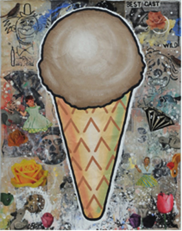 Baechler Donald_Brown cone 2010 gesso flashe and paper collage on paper cm 132,1x101,6