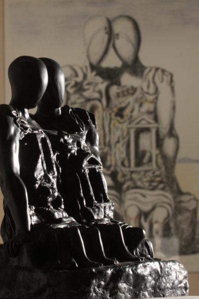 Giorgio de Chirico_gli archeologi_Oreste e Pilade_bronzo patinato_h cm 29,5_da gesso del 1972 tratto da terracotta del 1940 es V_VII_particolare
