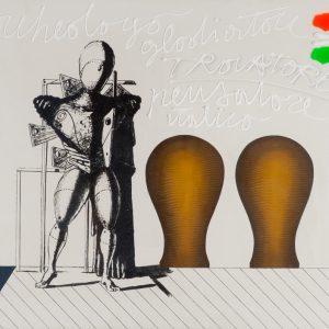 Concetto Pozzati, Dal ciclo restaurazione, Trovatore da e per De Chirico, 1973