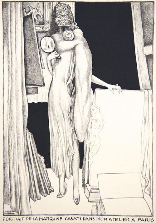 Martini-Alberto_Ritratto-della-Marchesa-Casati-nel-mio-atelier-a-Parigi_1925-ca_litografia_36,5x27-cm